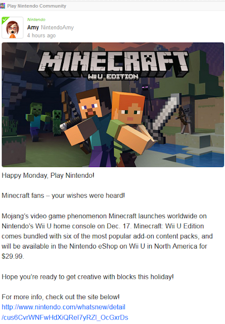 Play Nintendo Amy Miiverse Minecraft Wii U Edition announcement