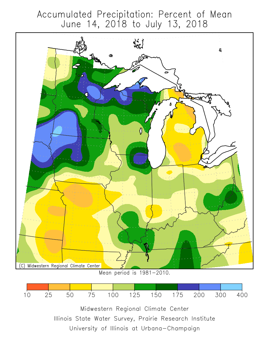 the lack of rain during these periods can really be appreciated by looking at map 2 most areas saw less that less 1 4 of rain in july through mid month