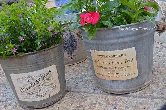 add vintage character to galvanized buckets with reproduction labels