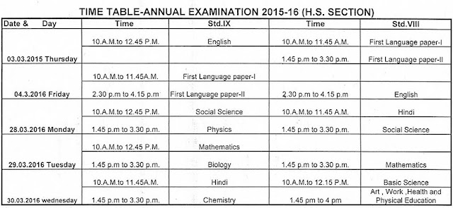 LP/UP High School Annual Exam Time Table 2016
