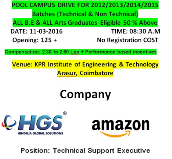 Amazon & HGS Placement Drive for 2012/2013/2014/2015/2016 Batch