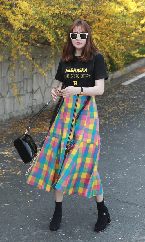 Zip Front Multicolor Check Skirt