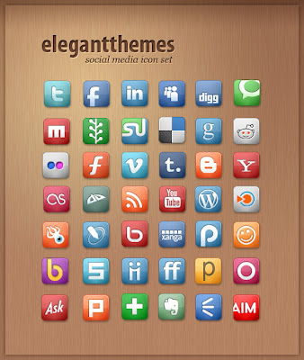 Free Social Media Icon Set By Elegant Themes
