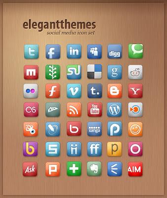 Free Social Media Icon Set By Elegant Themes