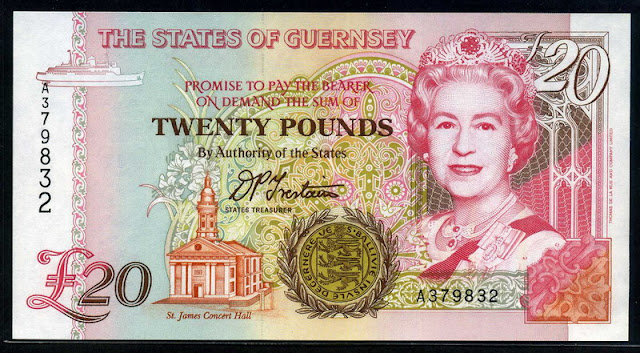 British notes Guernsey 20 Pounds banknote money currency images