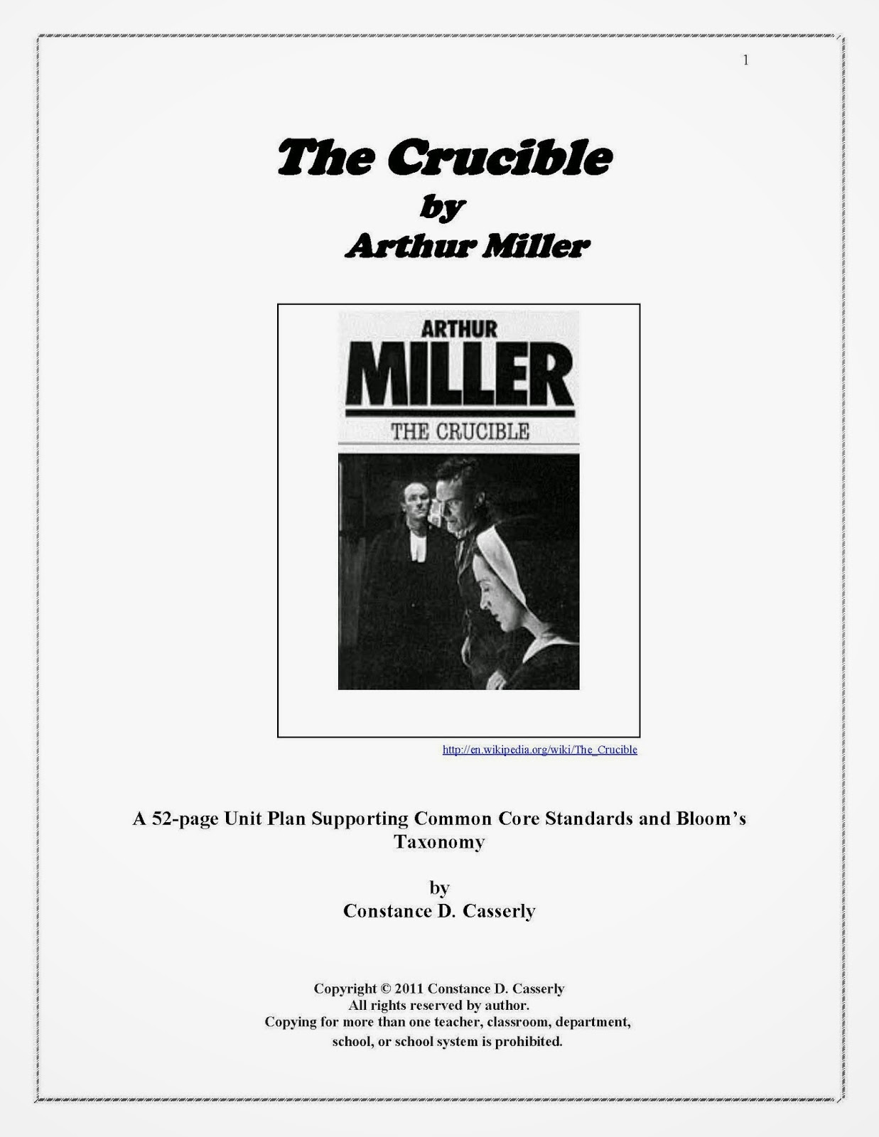 teach it write literature novel ideas high school unit plan the crucible