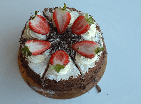 Black forest cake with fruits