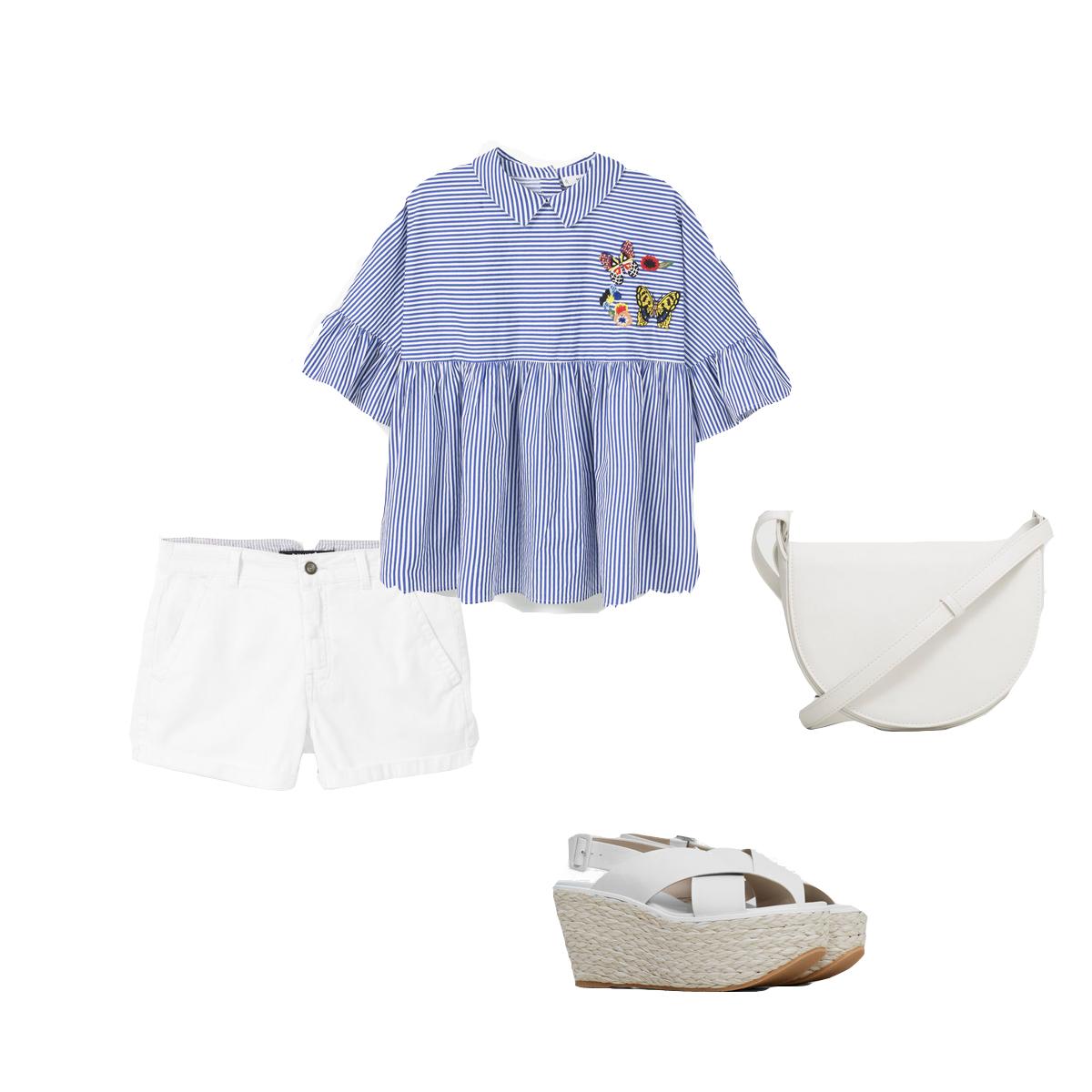 Look blusa rayas, volados, short blanco