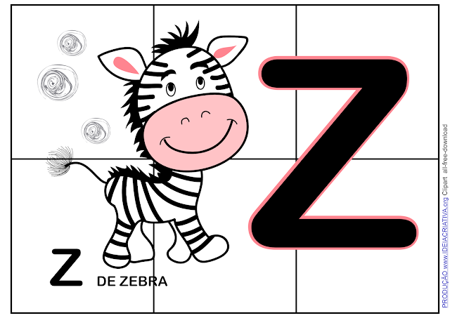 4 Atividades letra Z - Quebra-cabeça, formação de sílabas, identificação letra Z e letra inicial