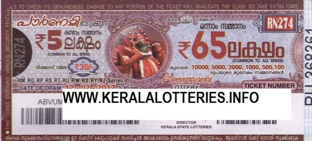 Kerala lottery result official copy of Pournami_RN-95