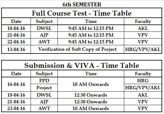 Tolani f g polytechnic adipur computer engineering for 6th sem time table