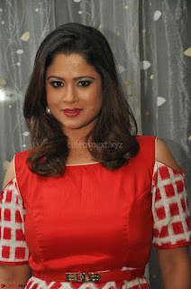 Shilpa Chakravarthy looks super cute in Red Frock style Dress 025.JPG