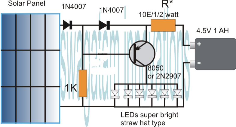 Simplest automatic led solar light circuit garden