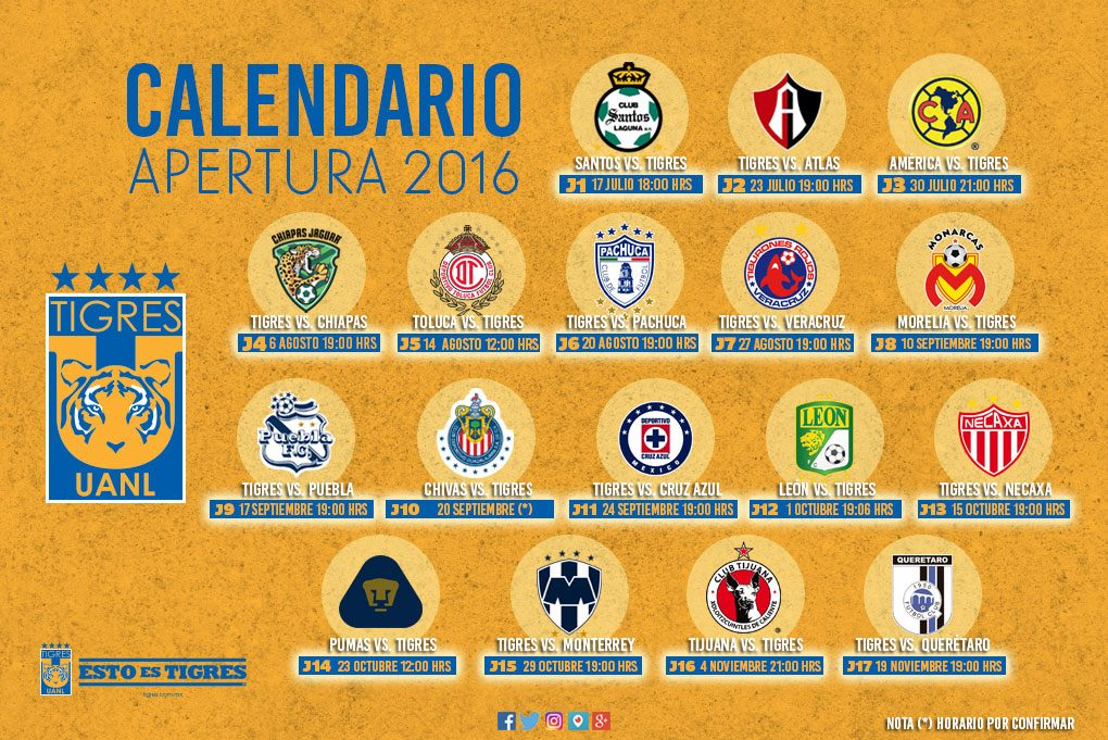 Calendario Tigres UANL - Soy Tigre - Tigres UANL