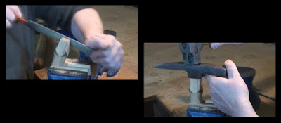 Rasping the handle and fitting the hammer head
