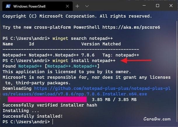 Perintah winget untuk install aplikasi di Windows 10