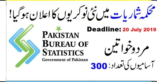 Bureau Of Statistics 300+Vacancies Jobs 2019
