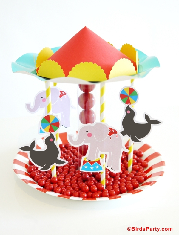 Circus Birthday Party Ideas | DIY Carousel Candy Centerpiece - BirdsParty.com