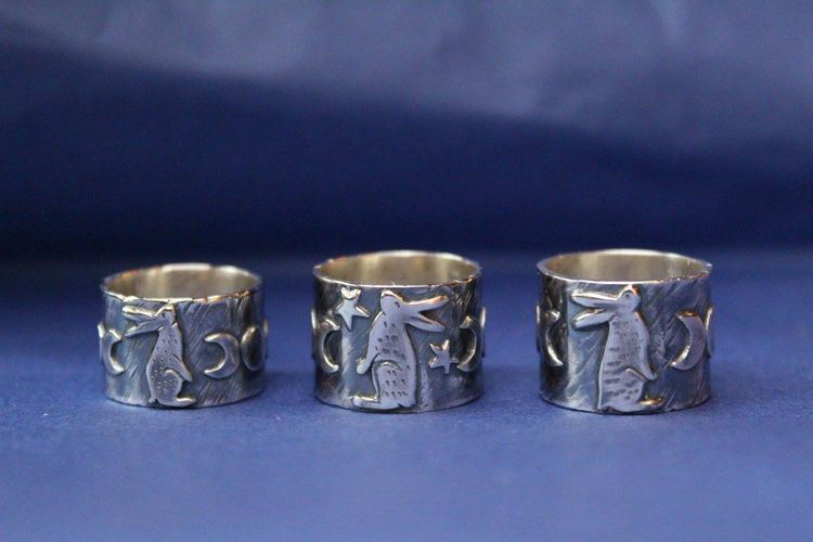 Three Silver Hare Rings by Leisa Howes Jewellery