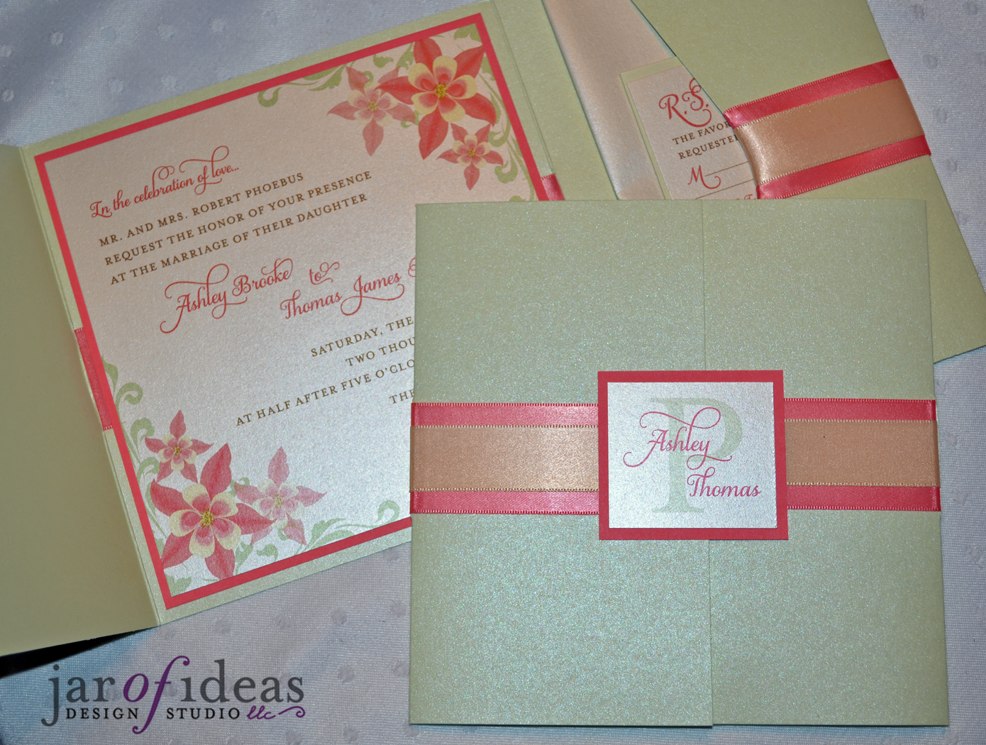 Wedding Invitations Coral Color: Jar Of Ideas: Ashley & Tom's Coral, Sage, And Yellow