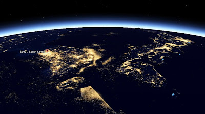 Asia nightview from space - Yellow sea