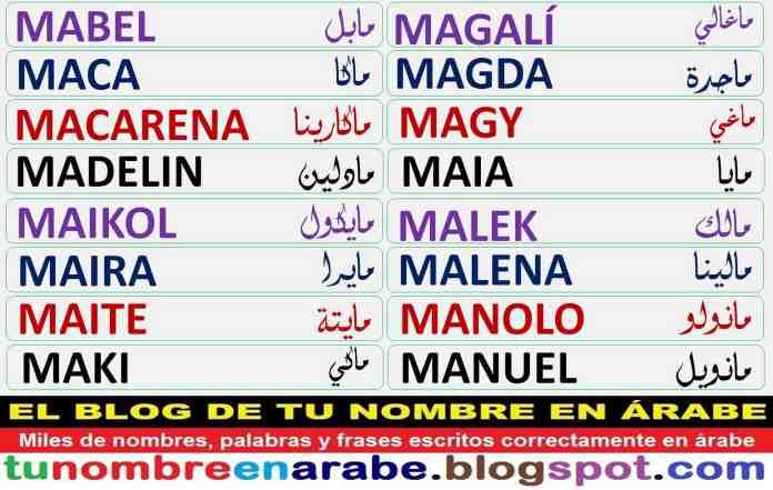 Tu Nombre En árabe Plantillas De Tatuajes Arabes De Nombres M