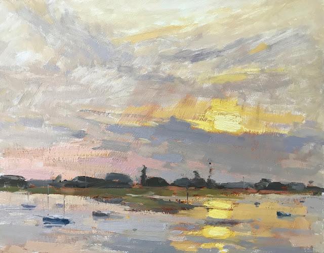 #354 'Sunset Bosham Harbour 11×14″