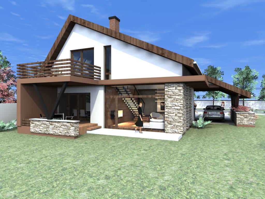 Arhiconstruct proiect casa cu mansarda casa nb 50 for Proiecte case cu etaj si terasa