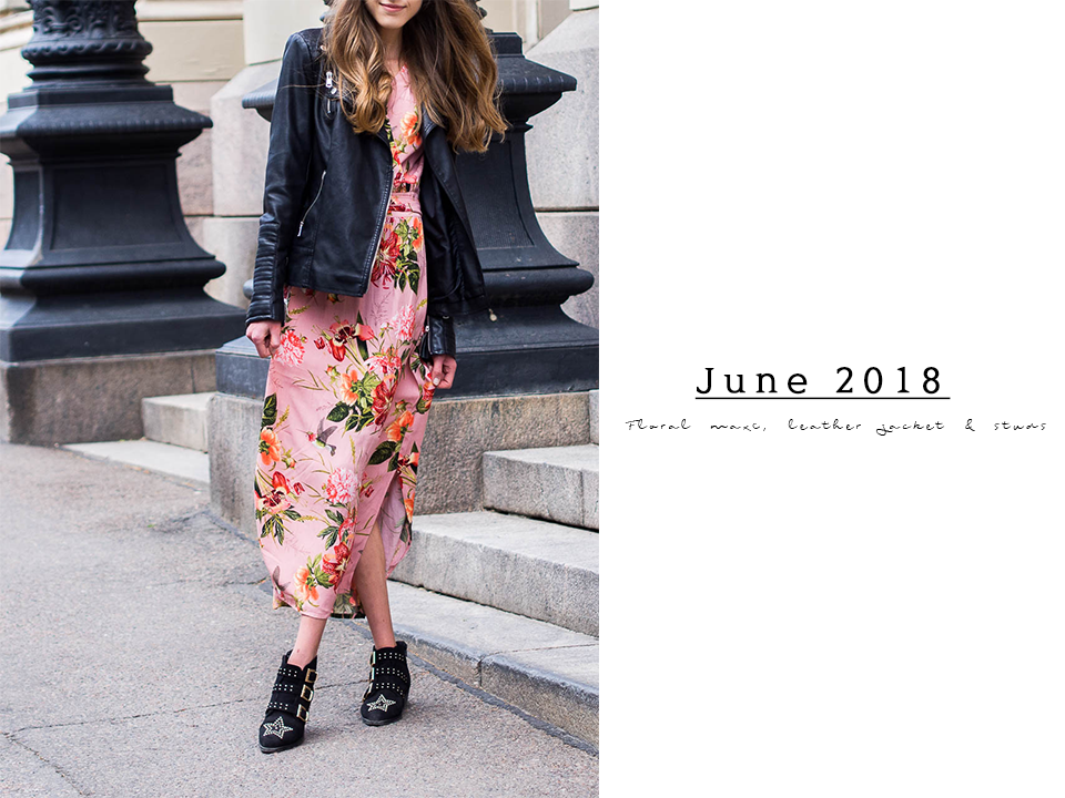 fashion-blogger-outfit-inspiration-summer-floral-dress-leather-jacket-studded-ankle-boots