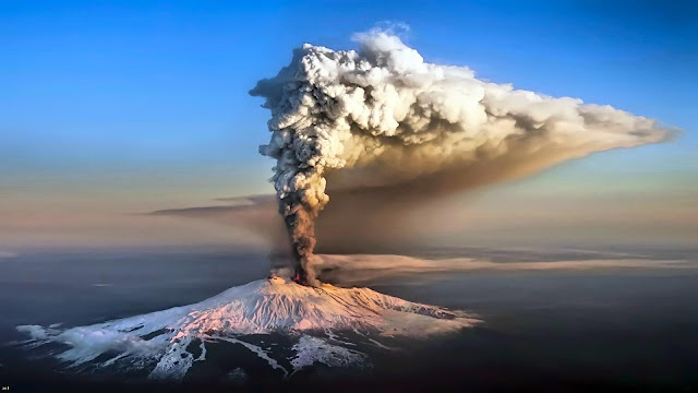 "Ash clouds, volcano eruptio ""Etna"""