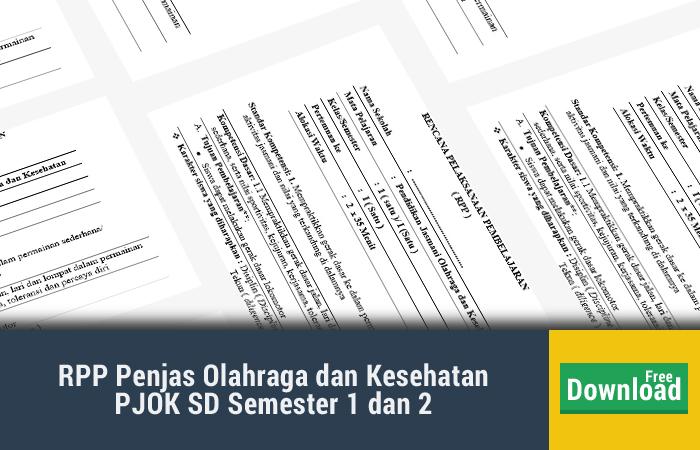 RPP Penjas Olahraga dan Kesehatan PJOK SD Semester 1 dan 2