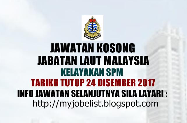 Jawatan Kosong Kerajaan Terkini di Jabatan Laut Malaysia Disember 2017