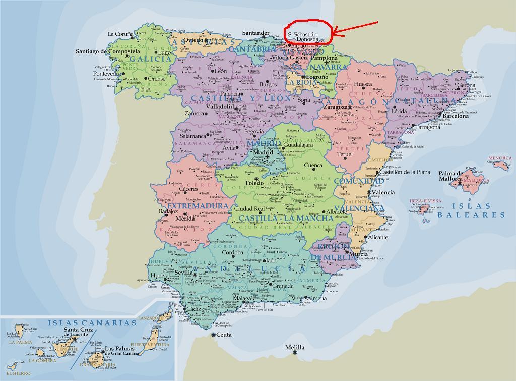 San Sebastian Mapa España.Mapa De Donostia San Sebastian Espana Werkspy