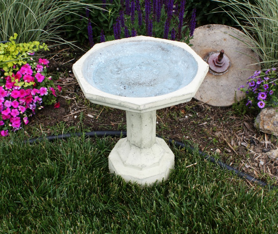 The bowl of the birdbath was painted in Louis Blue chalk paint.