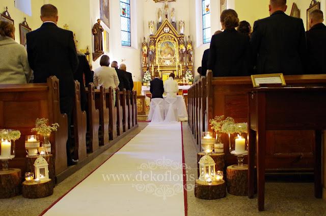 Rustykalna dekoracja ślubna kościoła biały dywan Prudnik