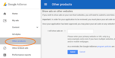 Google Adsense show ads on other website