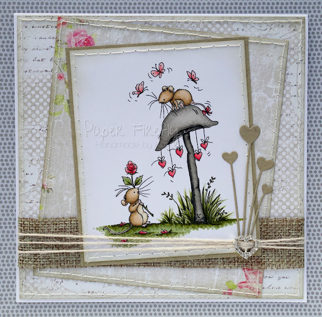 Romantic card with mice, hearts and flowers (image from LOTV)