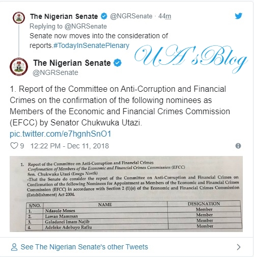 BREAKING: Senate suspends confirmation of EFCC nominees, says South-East , South-South not represented