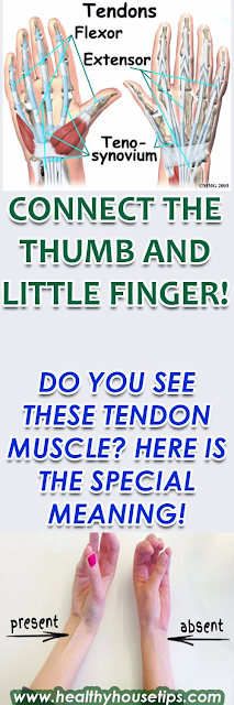 CONNECT THE THUMB AND LITTLE FINGER! DO YOU SEE THESE TENDON MUSCLE? HERE IS THE SPECIAL MEANING!