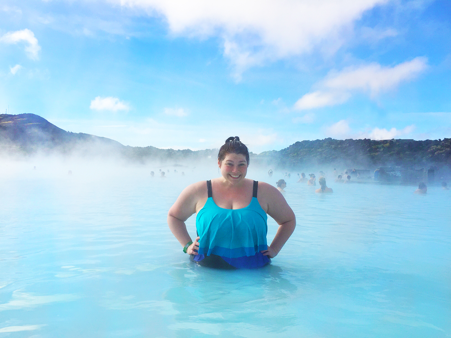 Plus Size Blogger Amber from Style Plus Curves at the Blue Lagoon in Iceland wearing an Avenue plus size swimsuit