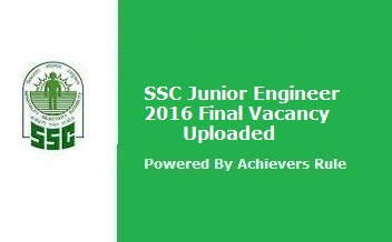 SSC Junior Engineer Final Vacancy Updated