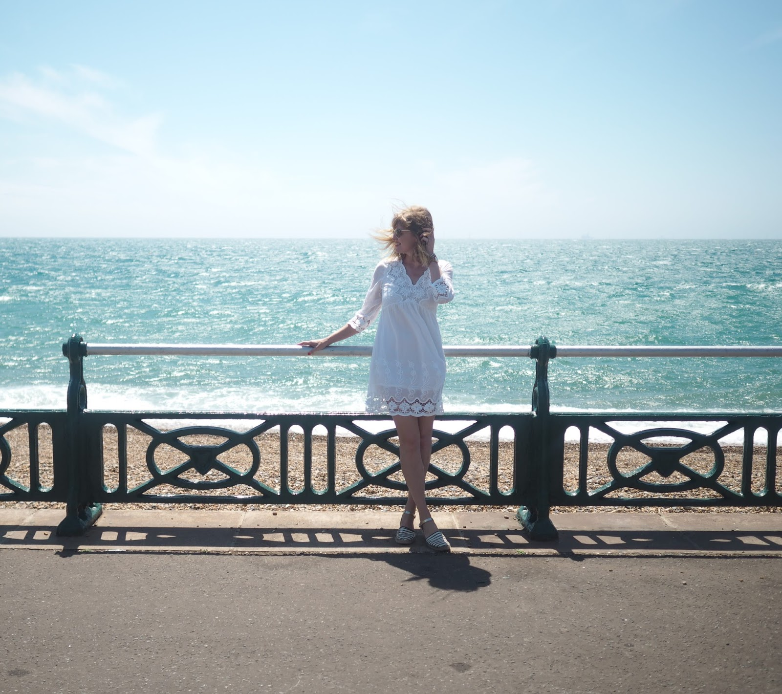 White lace dress. Brighton Seafront