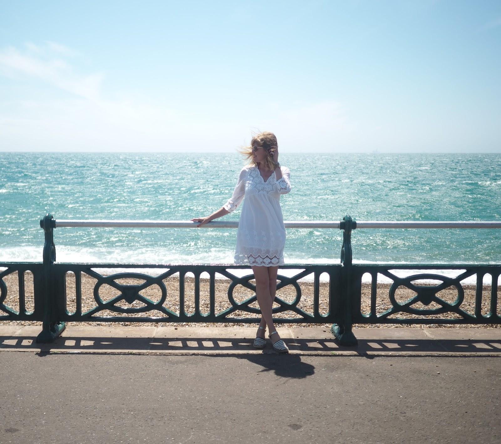 White lace dress. Brighton Seafront