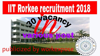 IIT Roorkee Recruitment notification 2018-2019 Various Vacancies Online Form