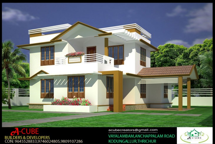1890 sqft 3 Bedroom Kerala style House 3D exterior design from ACUBE  D Home Kerala Interior Design Html on kerala house designs floor plans, fashion design software 3d, kerala house interior design,