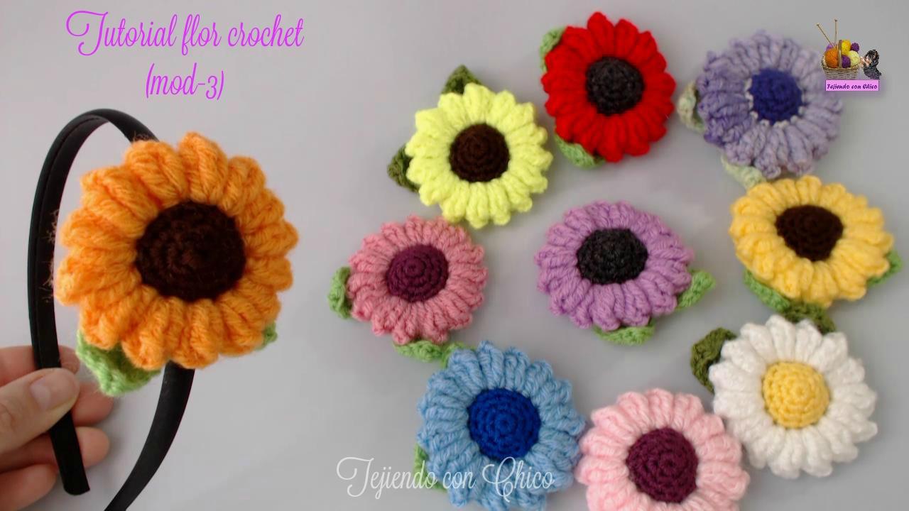 Amigurumis Tejiendo con Chico: Flor crochet (mod-3)