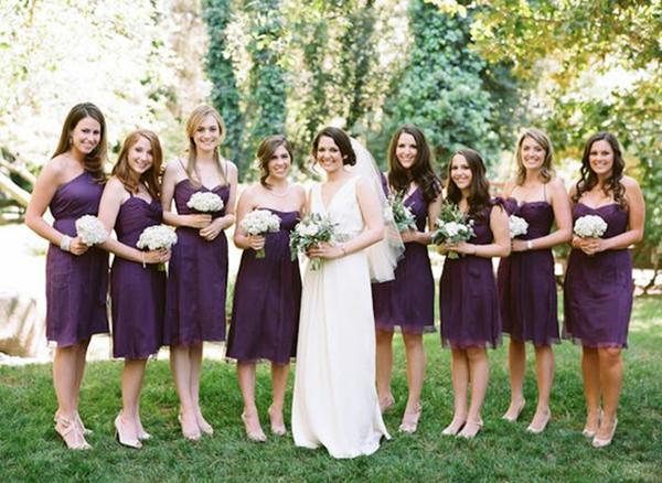 Same Color Diffe Styles Purple Bridesmaids Dresses Bridesmaid