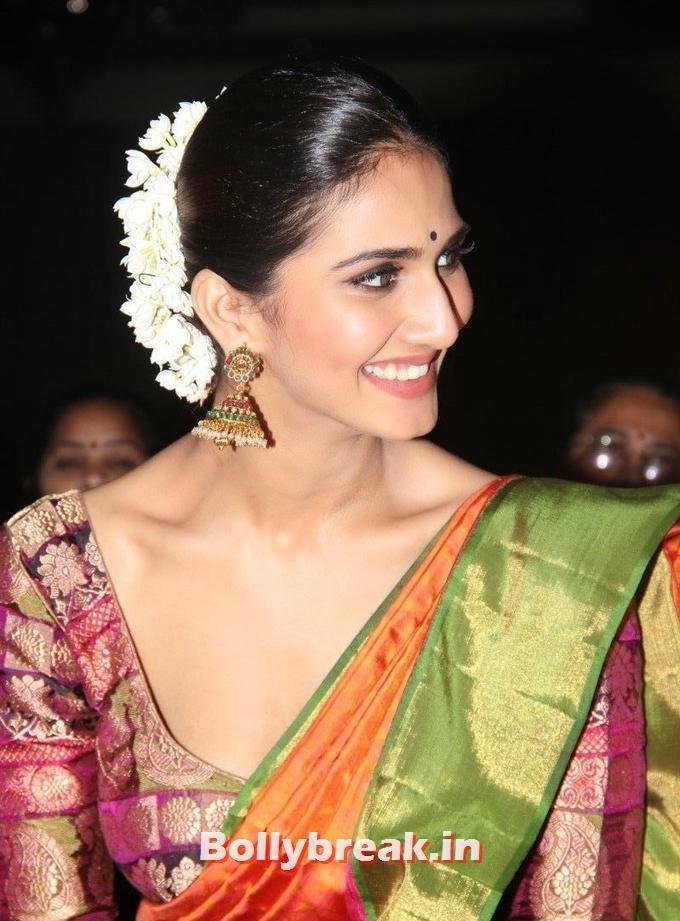 Vaani Kapoor in Deep Neck Saree, Vaani Kapoor in Saree at Aaha Kalyanam Movie Audio Launch