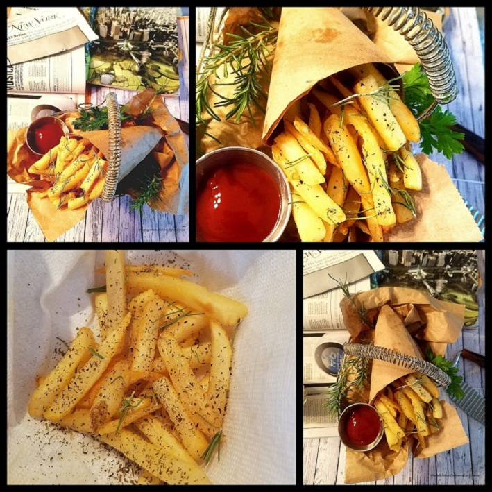 this recipe shows how to make Italian French Fries in a collage with condiments on wood floor seasoned with garlic, pepper and spices. These french fries are in a paper cone found all over New York City. Especially served at baseball games.