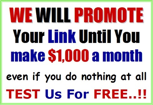 We will promote for you untll you make $1000 a month even if you do nothing at all. Test us for free!